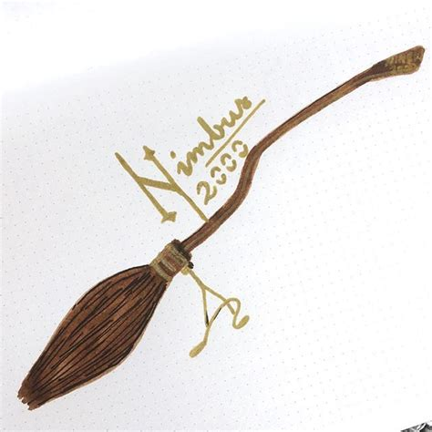 nimbus 2000 2001 broomstick drawing harry potter quidditch