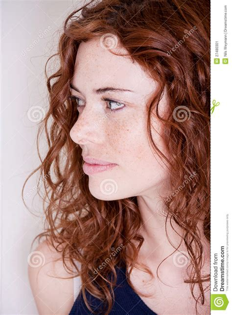 red headed woman freckles beautiful red head woman with freckle smiling stock image