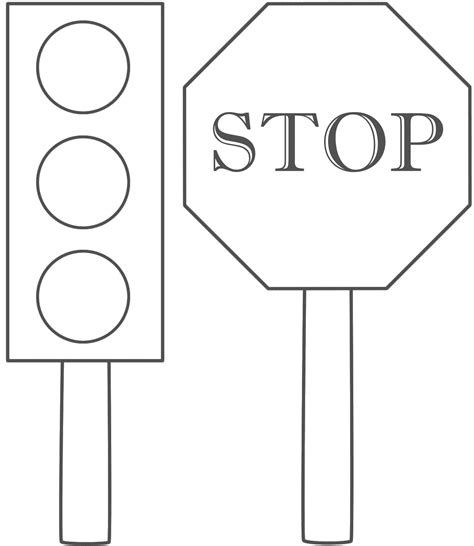 printable light images stoplightcoloringpage traffic light and stop sign