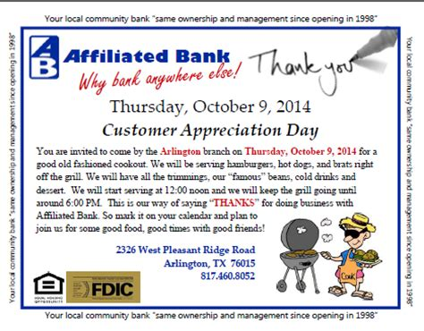 Customer Appreciation Invitation Letter Customer Appreciation Day Affiliated Bank