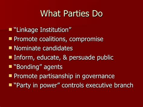 chapter 5 section 1 parties and what they do chapter 5 section 1 political parties