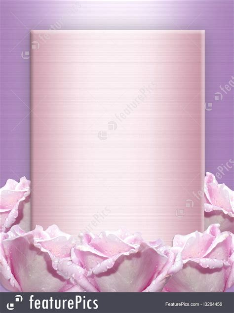 lavender roses  satin wedding invitation illustration