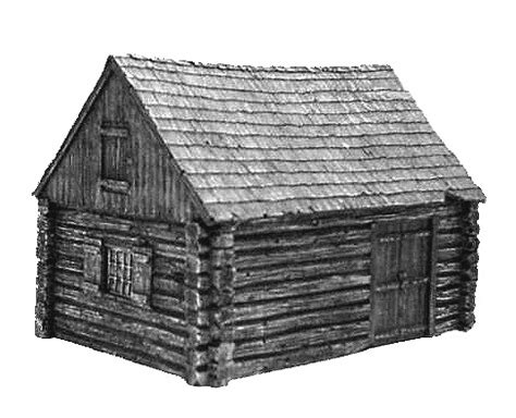 Model Log Cabin by Hudson Allen Studio 25mm Scale Model Log Cabin