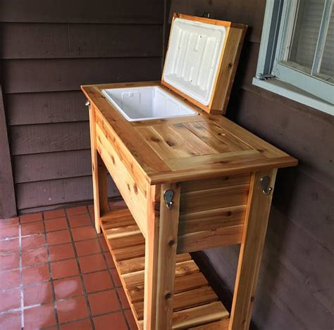 wood ice chest grill cart combo wood cooler wooden