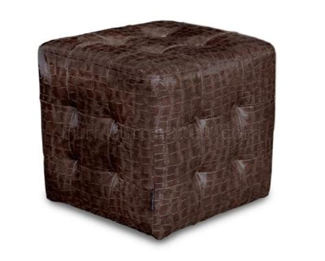 pattern ottoman mocca crocodile pattern vinyl modern tufted cube accent