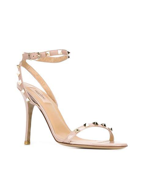 valentino rockstud sandals valentino rockstud leather sandals in pink pink purple