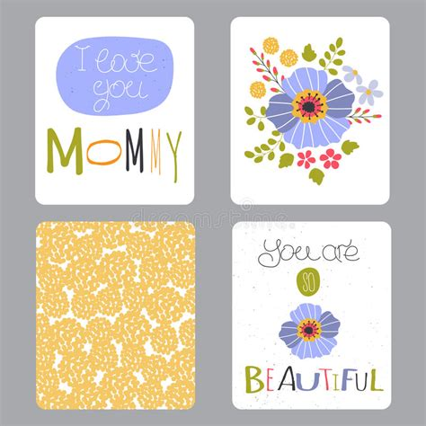 small greeting cards template mothers day set of cards stock vector illustration of