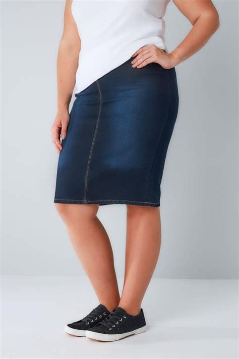 Denim Skirt With T Shirt 14 Teddy In Country indigo denim pull on midi pencil skirt plus size 14 to 28