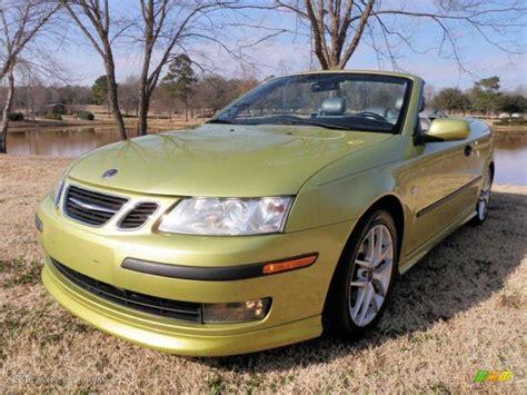 2004 lime yellow metallic saab 9 3 aero convertible