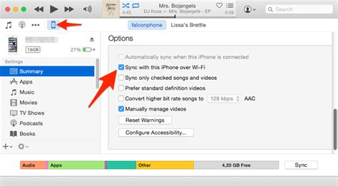 how to sync your iphone with itunes wirelessly with wi fi