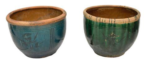 2 large glazed terracotta garden planters spain