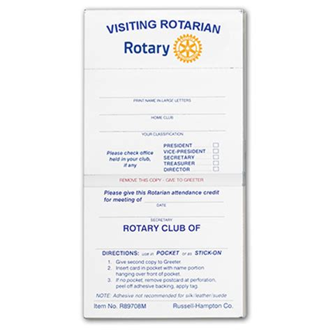 Rotary Membership Card Template by Rotary Visiting Report Cards Rotary Club Supplies