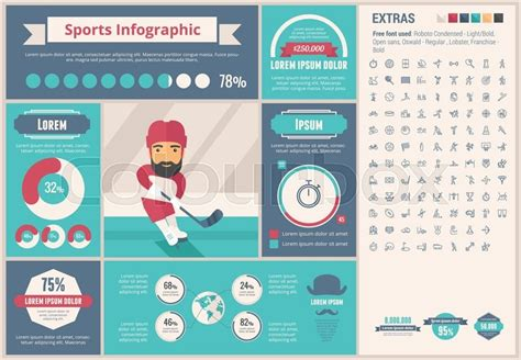 Sports Infographic Template And Elements The Template Includes Illustrations Of Hipster Men And Sports Infographics Templates