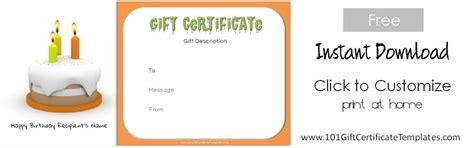 templates cards and certificates free birthday gift certificate template