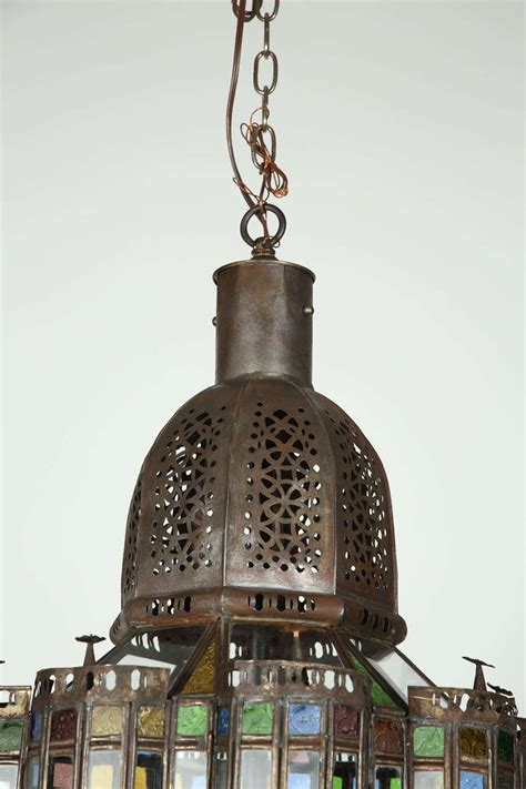 Large Moroccan Chandelier Large Moroccan Glass Pendant Chandelier At 1stdibs