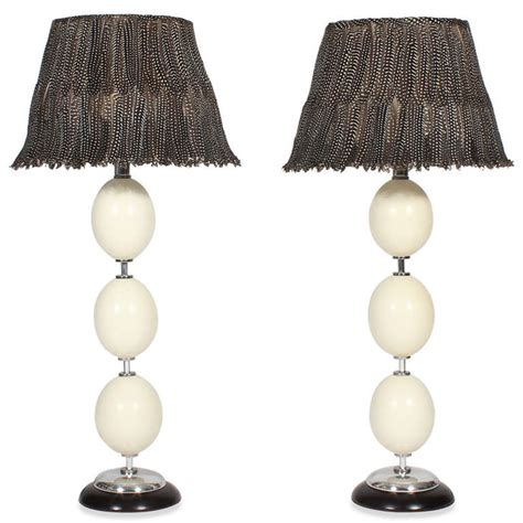ostrich feather l shade pair of ostrich egg and feather shade ls for sale at