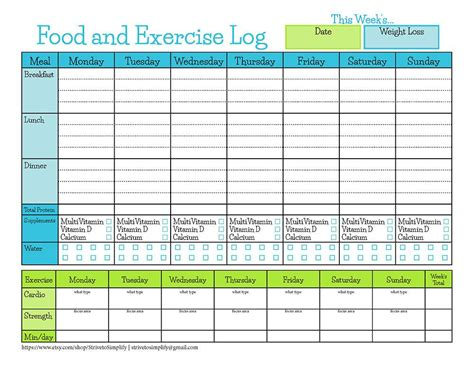 printable food journal weight loss bariatric surgery food exercise tracker weight loss
