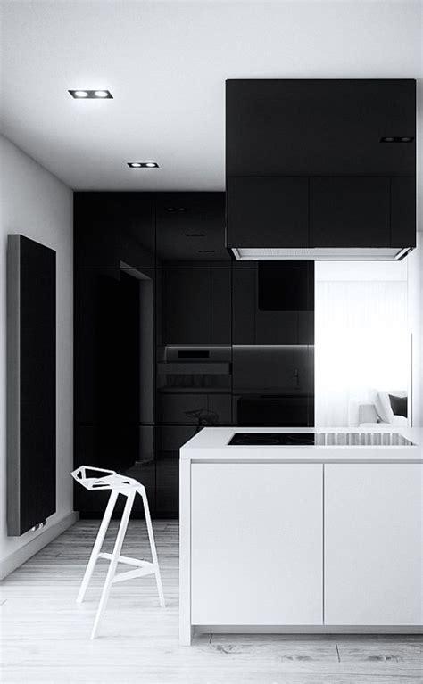 minimalist kitchen black  white kitchen cutout