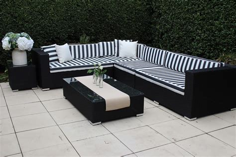 outdoor furniture white wicker black and white striped