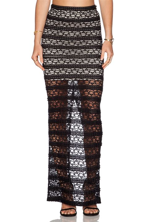 ettley lace maxi skirt in black black
