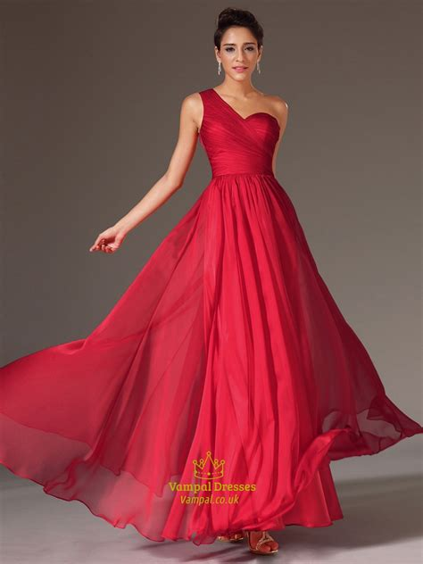 simple   red  shoulder sleeveless ruched prom