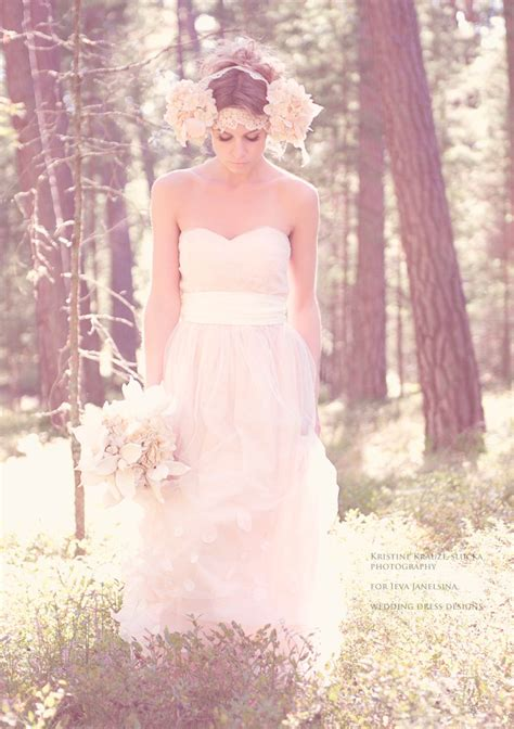 pale wedding dress blush strapless tulle by