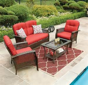 Red Patio Furniture Sets by Hometrends Tuscany 4 Piece Conversation Set Walmart Ca