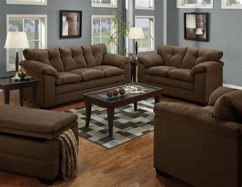 Chocolate Living Room Furniture Simmons Mircrofiber Sofa Loveseat Chair Ottoman Living Room Set New Chocolate Brown