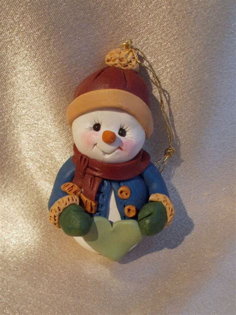 snowman christmas ornament polymer clay personalized by