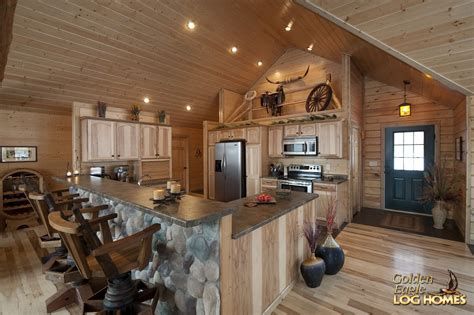 log home open floor plan kitchen luxury log cabin homes golden eagle log and timber homes floor plan details