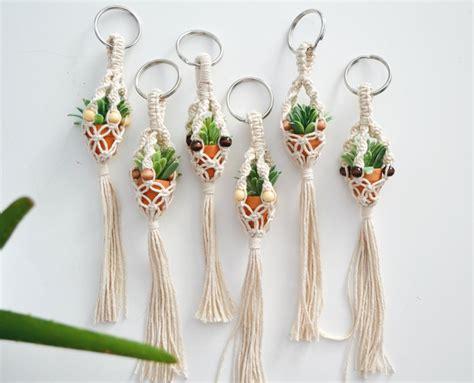 Macrame Keychains - mini macrame plant hanger keychain by knotonomy on etsy