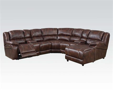 Sectional Sofas Reclining Casual Brown 7 Reclining Sectional Sofa W Storage Console Chaise