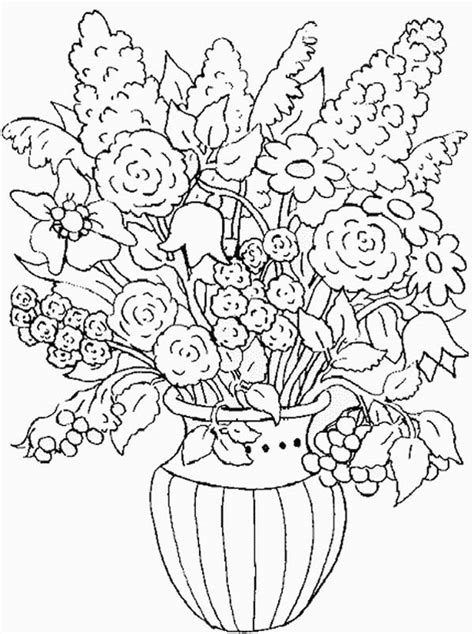 coloring pictures of flowers in a vase flower in the vase of nature coloring page color