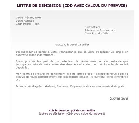 Exemple De Lettre De Démission Simple Sans Préavis Exemple De Lettre De D 233 Mission D Un Cdd Covering Letter Exle