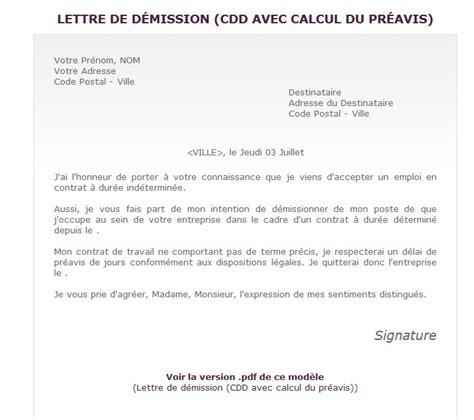 Exemple Lettre De Démission Réduction Préavis Exemple De Lettre De D 233 Mission D Un Cdd Covering Letter Exle