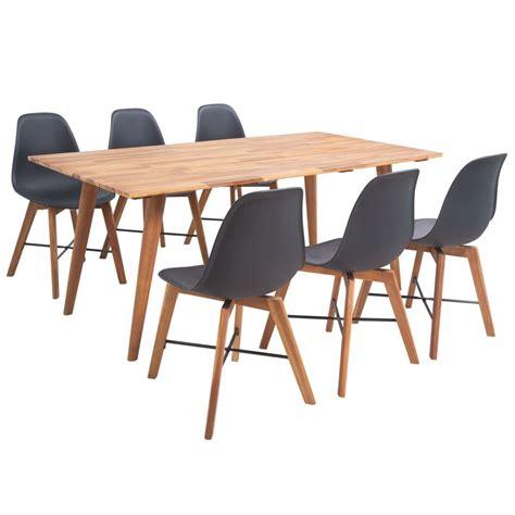 schwarzer speisesaal mit bank set vidaxl siebenteiliges esstisch set aus akazienholz g 252 nstig