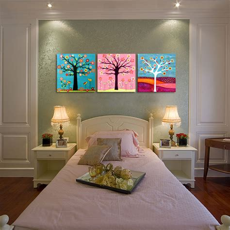 kids bedroom wall paintings 3 piece colorful cartoon tree of life kids room prints abstract canvas wall art