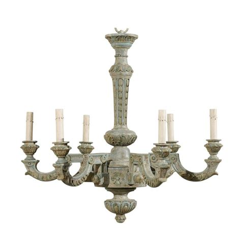 French Six Light Painted And Carved Wood Chandelier For Painted Chandeliers