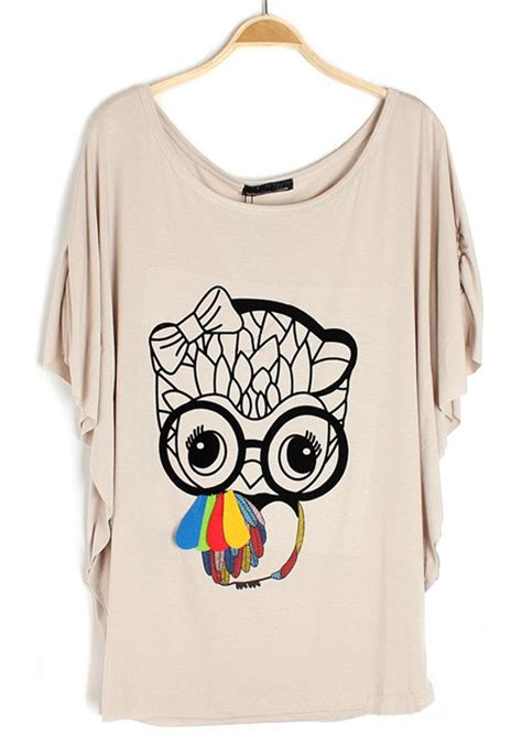 Sleeve Owl Print T Shirt grey owl print bat sleeve cotton t shirt t shirts tops