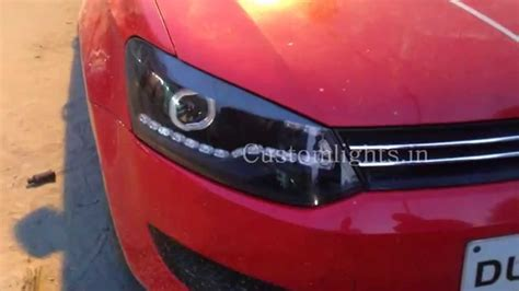 volkswagen polo headlights modified volkswagen polo projector and led headlights by
