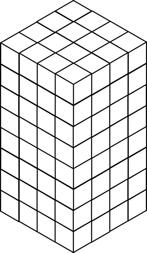 128 Stacked Congruent Cubes | ClipArt ETC