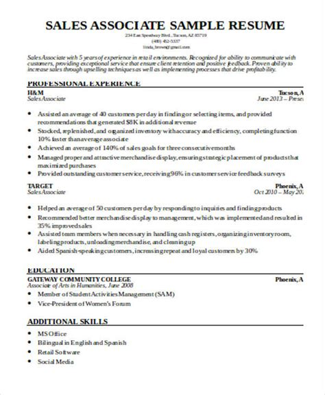 resume exle of sales associate free professional