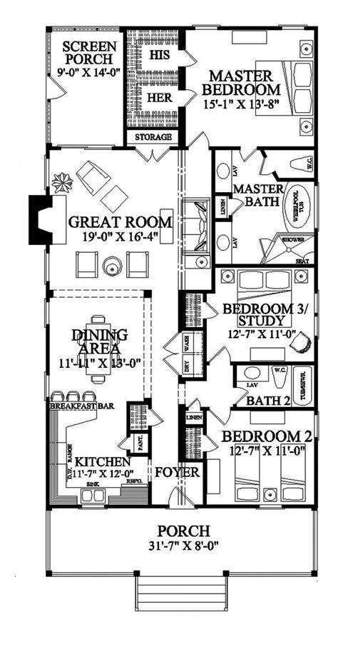 Floor Plans For Narrow Lots by Narrow Lot Roomy Feel Hwbdo75757 Tidewater House Plan
