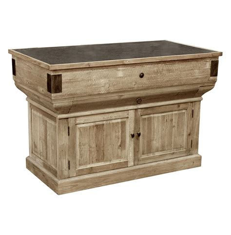 Large Rolling Kitchen Island Oleron French Country Reclaimed Wood Rustic Kitchen Island