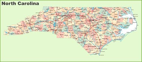nc map road map of carolina with cities
