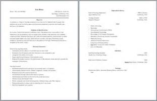 Resume Templates On Pages Two Page Resume Sle Jennywashere