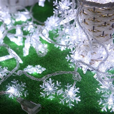 outdoor snowflake lights string 5m 40led decorative led string light snowflake white led light outdoor decoration