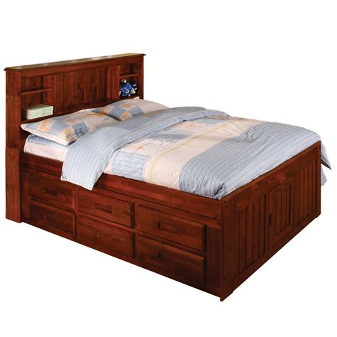 rustic wood full size bed with tiered 6 drawers underneath