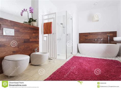 wall to wall carpet for bathroom bathroom interior with exotic wood royalty free stock