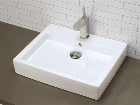 White Sink White Rectangular Ceramic Vessel Sink With Overflow